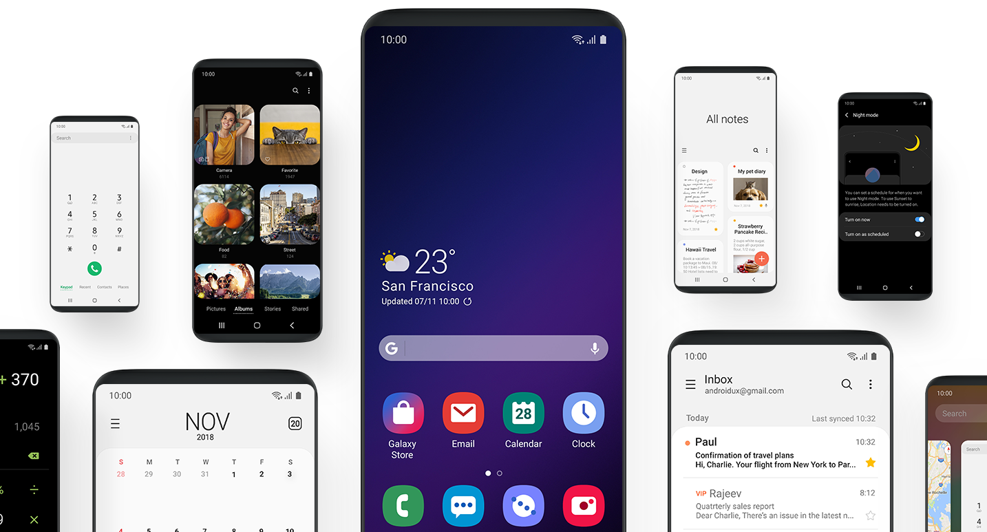 Samsung One UI screenshots