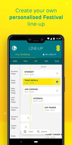 EE Glastonbury app line up feature