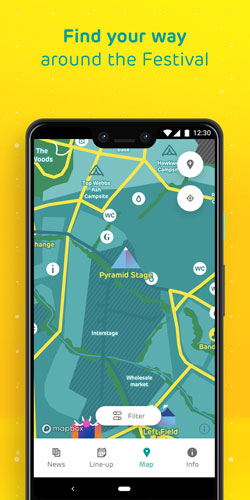 EE Glastonbury app map feature
