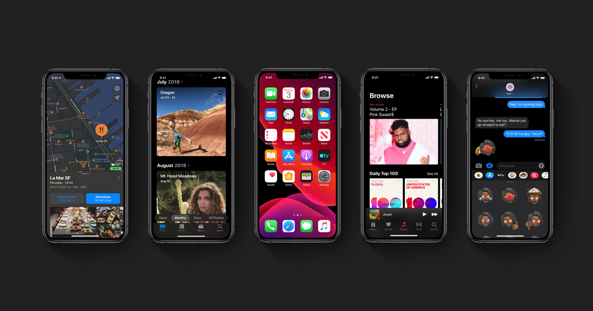iOS 13 screenshots on iPhone