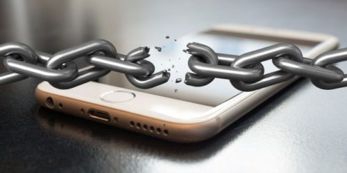 Locked mobile phone with chain