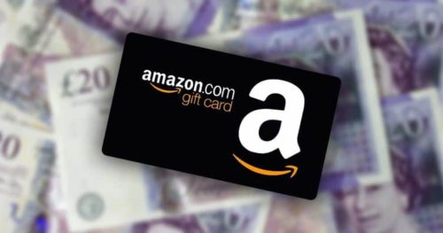 Amazon gift card on cash